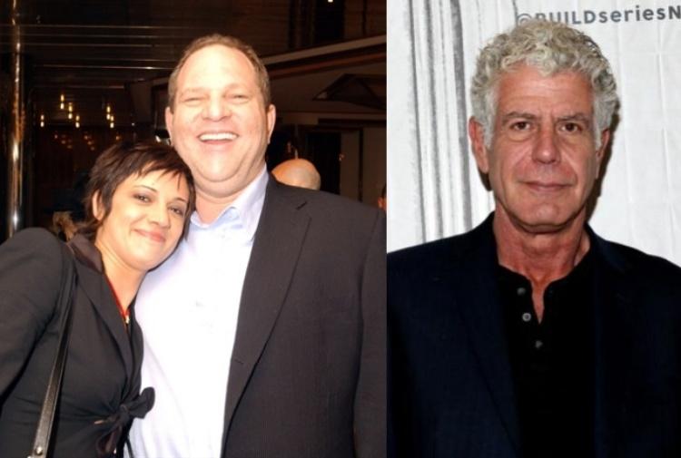 Asia Argento con Weinstein. A destra: Anthony Bourdain, ex compagno di Asia morto suicida